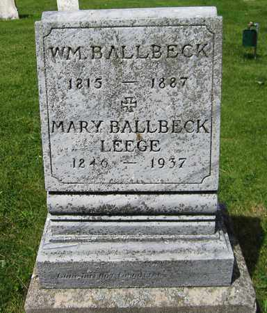 BALLBECK LEEGE, MARY - Kewaunee County, Wisconsin | MARY BALLBECK LEEGE - Wisconsin Gravestone Photos