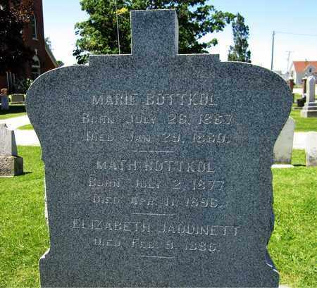 JAQUINETT BOTTKOL, ELIZABETH - Kewaunee County, Wisconsin   ELIZABETH JAQUINETT BOTTKOL - Wisconsin Gravestone Photos