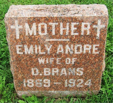 ANDRE BRANS, EMILY - Kewaunee County, Wisconsin | EMILY ANDRE BRANS - Wisconsin Gravestone Photos