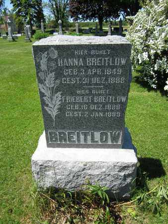 BREITLOW, HANNA - Kewaunee County, Wisconsin | HANNA BREITLOW - Wisconsin Gravestone Photos