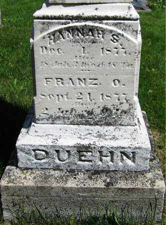 DUEHN, HANNAH S. - Kewaunee County, Wisconsin   HANNAH S. DUEHN - Wisconsin Gravestone Photos