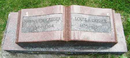GREISER, HANNAH - Kewaunee County, Wisconsin | HANNAH GREISER - Wisconsin Gravestone Photos