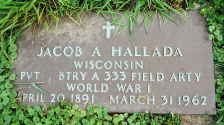 HALLADA, JACOB A. - Kewaunee County, Wisconsin | JACOB A. HALLADA - Wisconsin Gravestone Photos