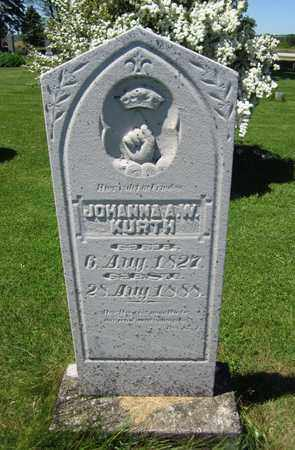 KURTH, JOHANNA A. W. - Kewaunee County, Wisconsin   JOHANNA A. W. KURTH - Wisconsin Gravestone Photos