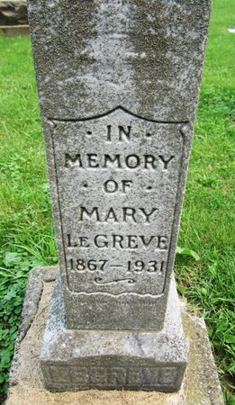 LEGREVE, MARY - Kewaunee County, Wisconsin | MARY LEGREVE - Wisconsin Gravestone Photos