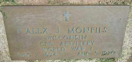 MONFILS, ALEX J. - Kewaunee County, Wisconsin   ALEX J. MONFILS - Wisconsin Gravestone Photos